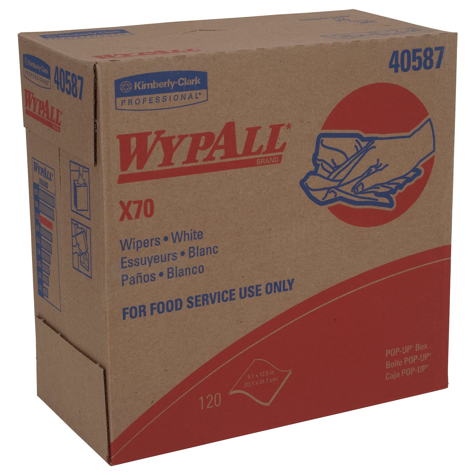 Wypall 40587 WypAll X70 Extended Use Reusable Wipers, POP-UP Box, Long Lasting Performance, White, 10 Boxes / Case, 120 Sheets / Box (Pack of 1200)