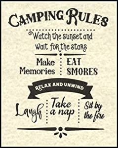 Camping Rules Quote Artwork Print Picture Poster Home Office Bedroom Nursery Kitchen Wall Decor - unframed