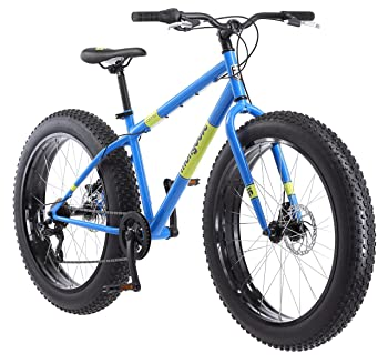 Mongoose Dolomite Fat Tire Mountain Bike, Featuring 17-Inch/Medium High-Tensile Steel Frame, 7-Speed Shimano Drivetrain, Mechanical Disc Brakes, and 26-Inch Wheels, Light Blue, Navy Blue, and Red