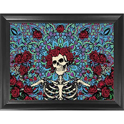 Grateful Dead Skull \u0026 Roses 3D Poster Wall Art Decor Framed Print