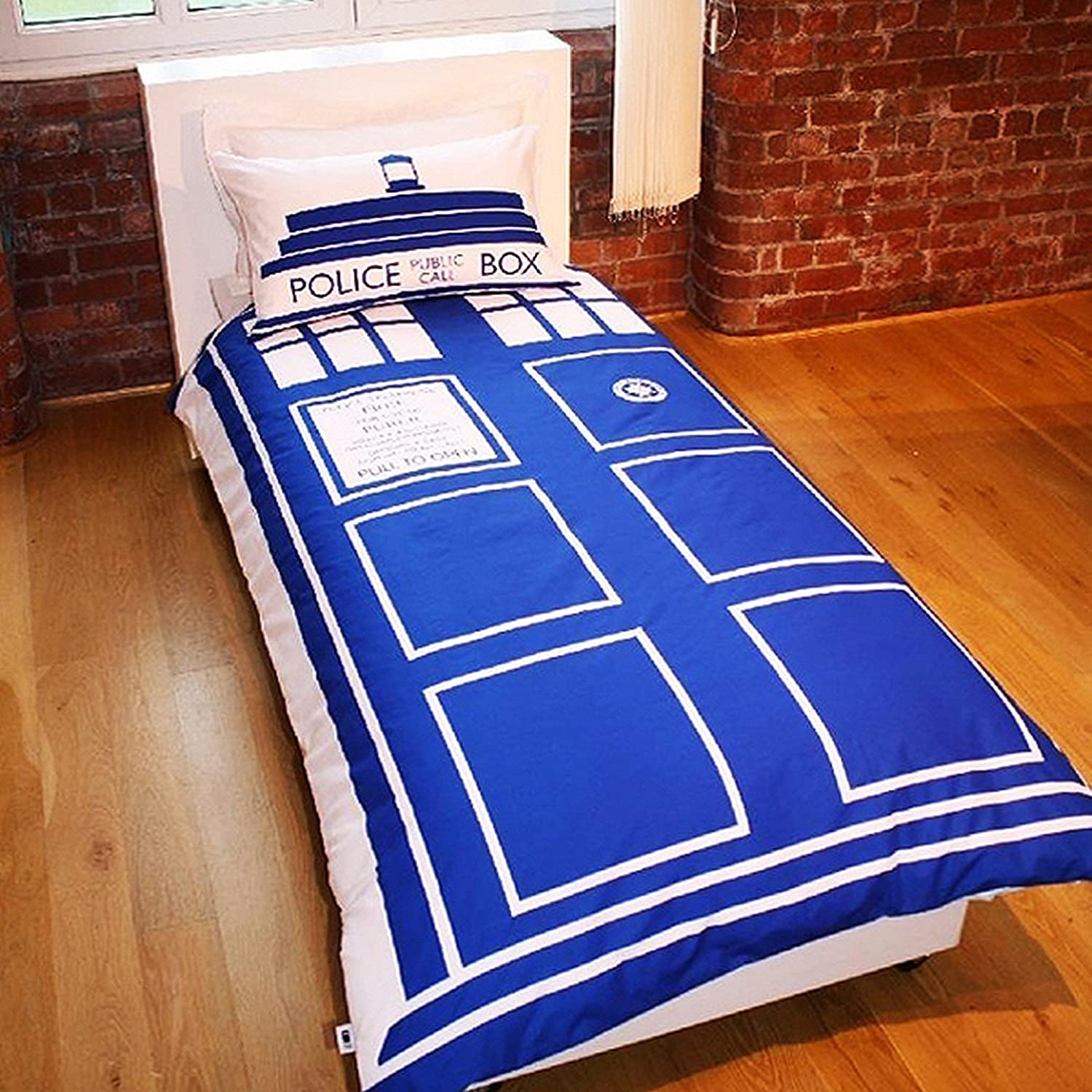 Doctor Who Tardis Duvet/Quilt Cover Bedding Set Twin White/Blue