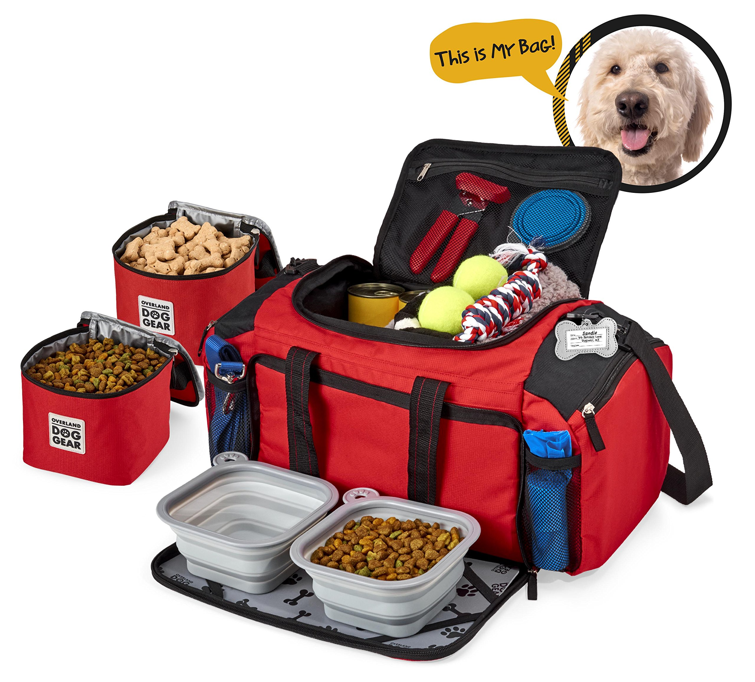 Dog Travel Bag - Ultimate Week Away Duffel For Med And Large Dogs - Includes Bag, 2 Lined Food Carriers, Placemat, and 2 Collapsible Bowls