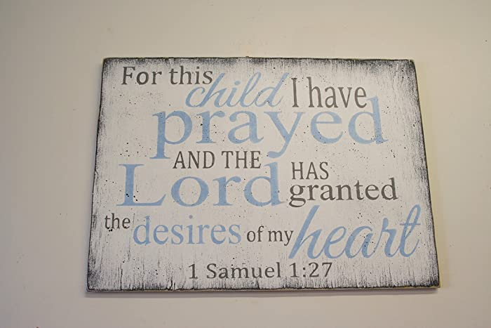 Amazon.com: For This Child I Have Prayed Distressed Wood Gray and ...