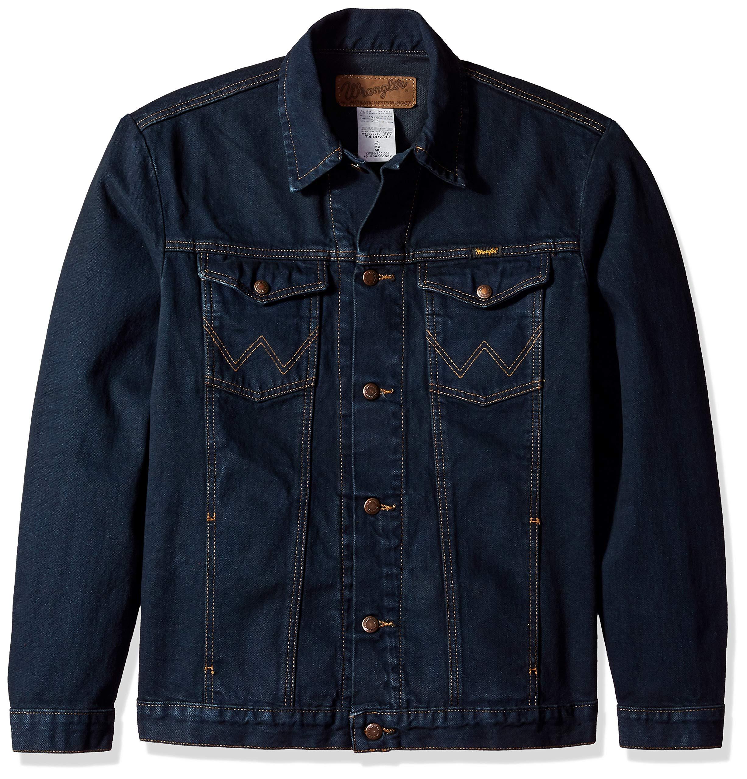 Wrangler Men's Western Style Unlined Denim Jacket, Dark Dye, Medium by Wrangler