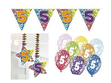 Partydeko Set 5geburtstag Kindergeburtstag 9 Teilig Mädchen Junge