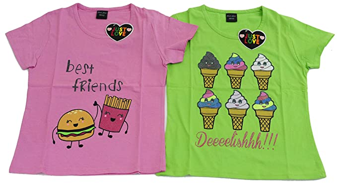 Amazon.com  Just Love Cute Graphic T Shirts for Girls (Pack of 2)  Clothing a5d08f7cda1