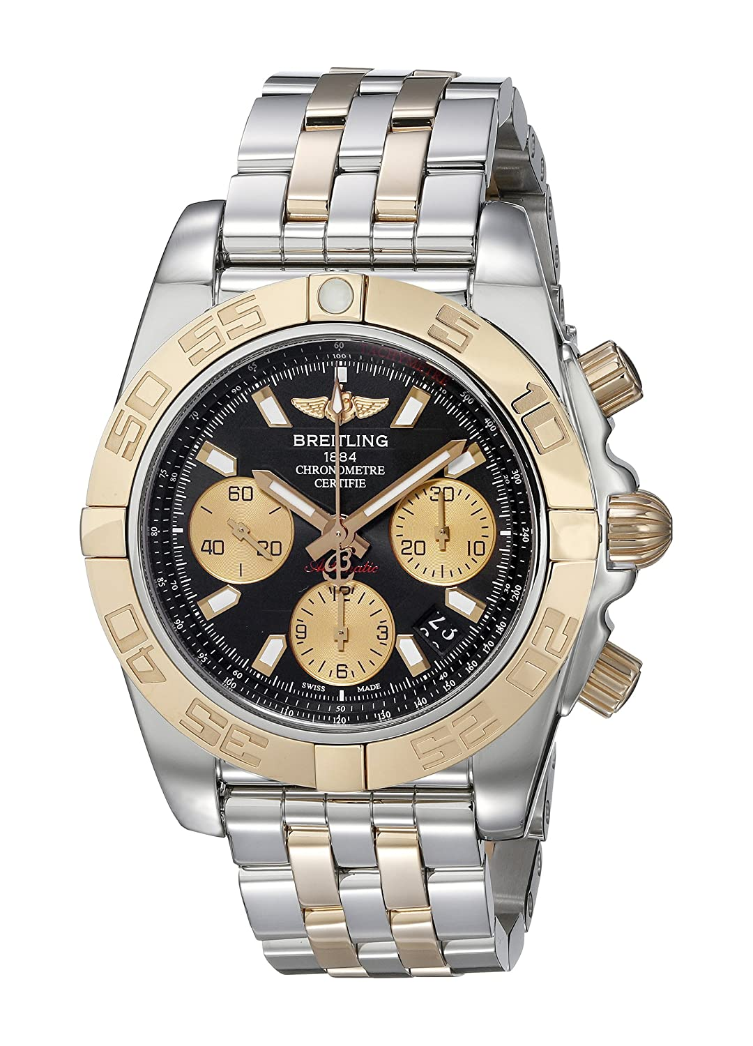 Breitling Men s Watch CB014012-BA53-378C Chronomat 41 Automatic Black Dial 18K Rose Gold and Steel