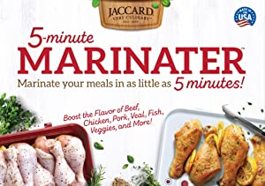 Jaccard 201317 5-Minute Marinater, 10 X 14 Inch, White/Red, Instant Vacuum Marinade Container. Dishwasher Safe