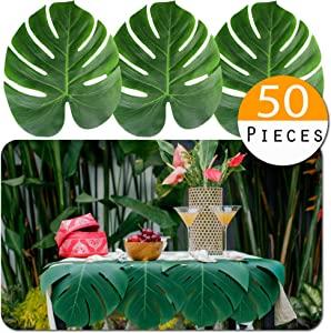 "Vibe 50pcs Large Tropical Palm Leaves - Artificial, 13.8"" by 11.4"" for Luau Jungle Hawaii Theme Party Decorations"