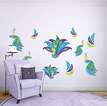 Peacock Wall Stickers // Peacock Feather Wall Décor // Peacock Feather  Decorations //