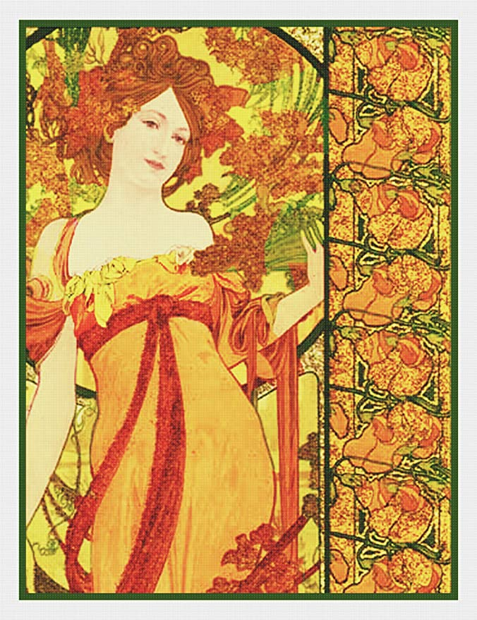 Orenco Originals in Honor of Sarah Bernhardt by Alphonse Mucha Counted Cross Stitch