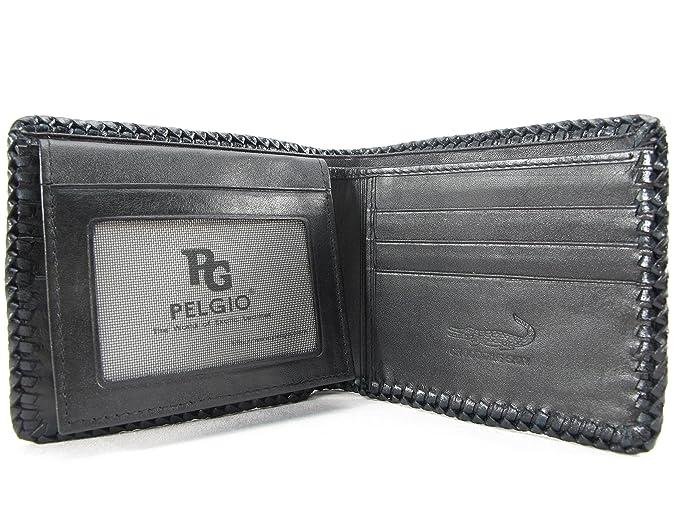 d037f10ff5d3 Amazon.co.jp: PELGIO 高級なクロコダイル革の財布 黒色 縁編み: 服&ファッション小物