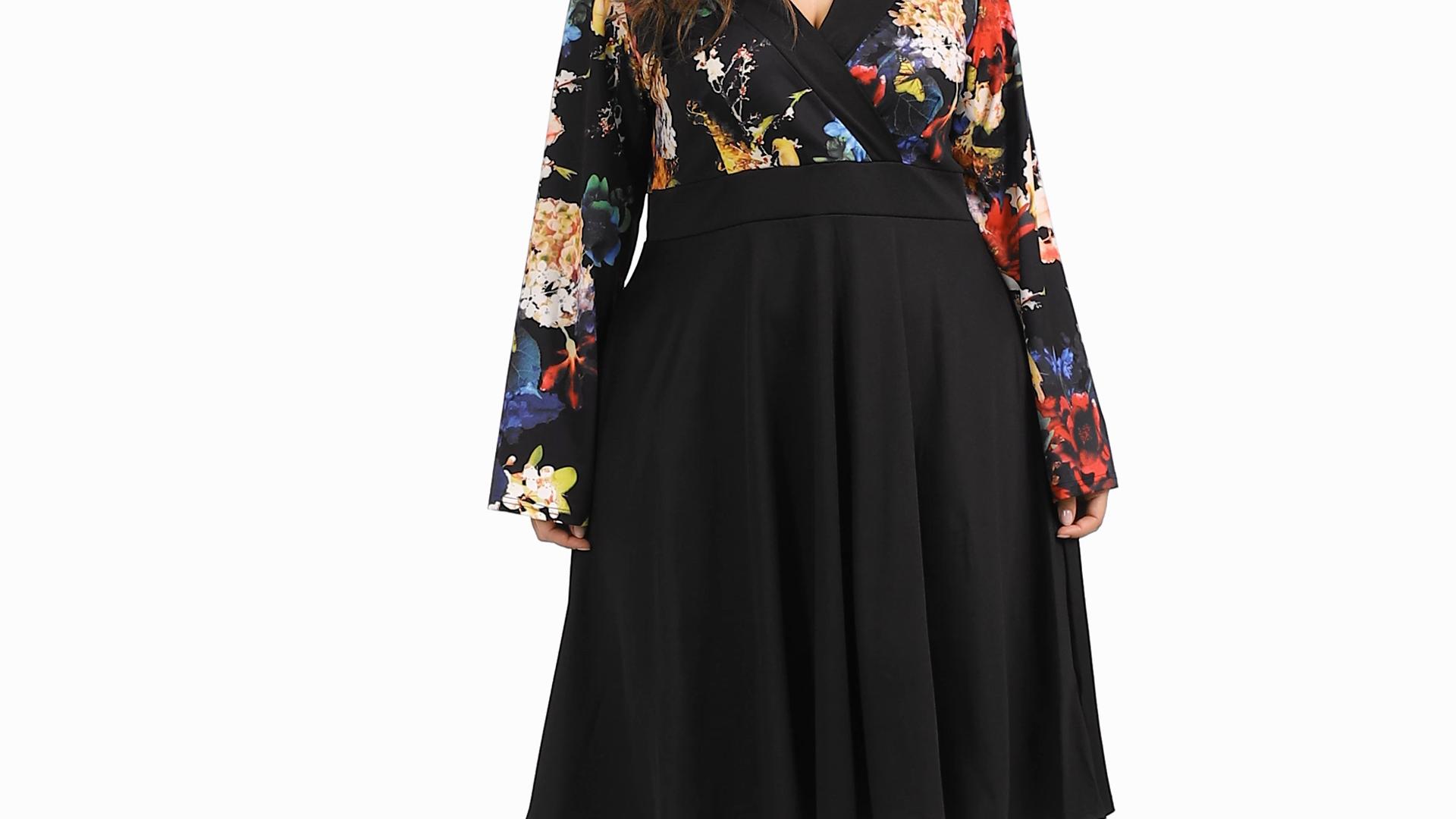 Valentine Plus-Size Short Floral Dresses