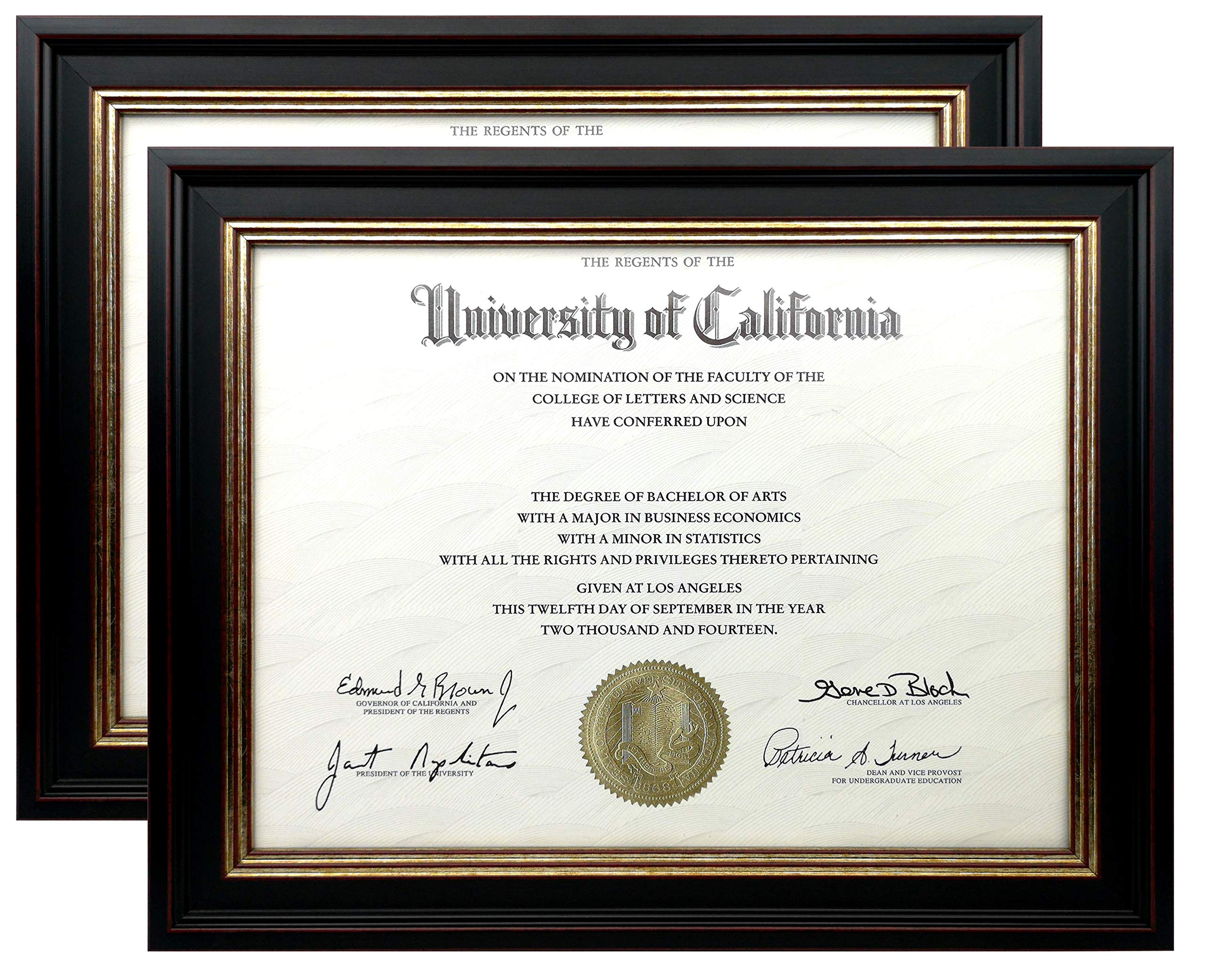 Onuri Inc - Luxurious Document Frame (2-Pack) - Classic 8.5x11 Picture Frame for Diploma Documents and Certificates