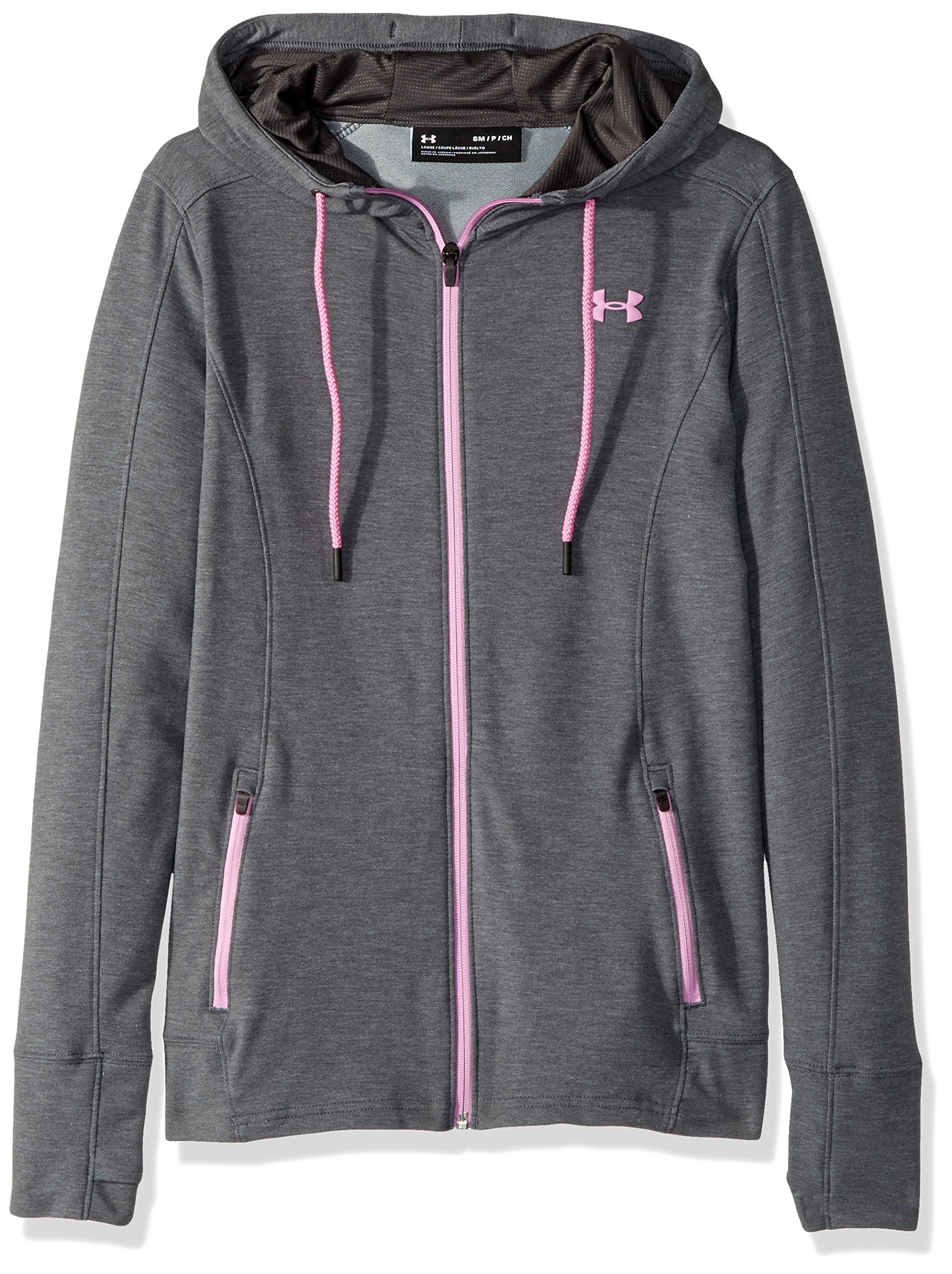 Under Armour Women's Featherweight Full Zip Hoodie, Carbon Heather (090)/Icelandic Rose, X-Small