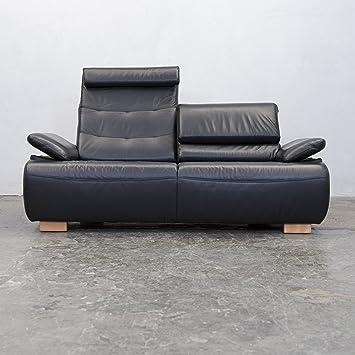 Designer Sofa Schwarz Leder Zweisitzer Relax Funktion Echtleder