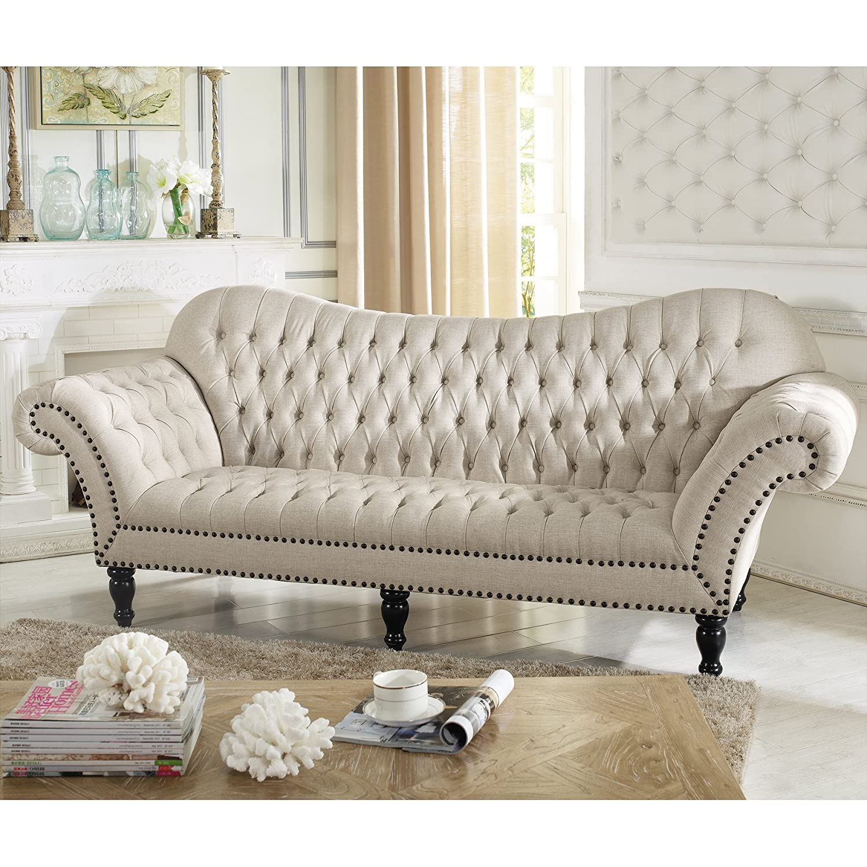 Amazon.com: Baxton Studio Bostwick Linen Classic Victorian Sofa, Beige:  Kitchen U0026 Dining