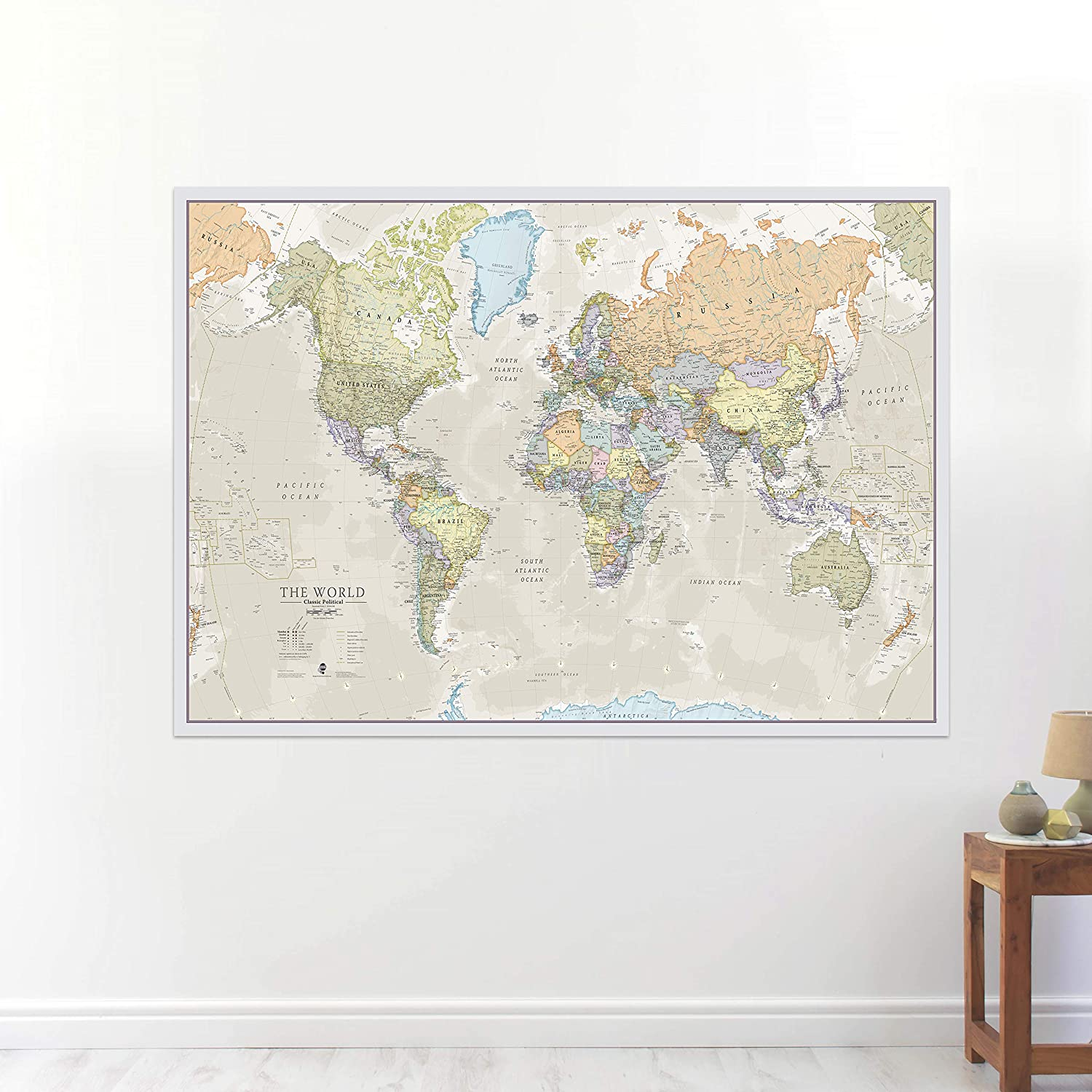 Amazon.com : Maps International Classic World Wall Map - Map of The ...
