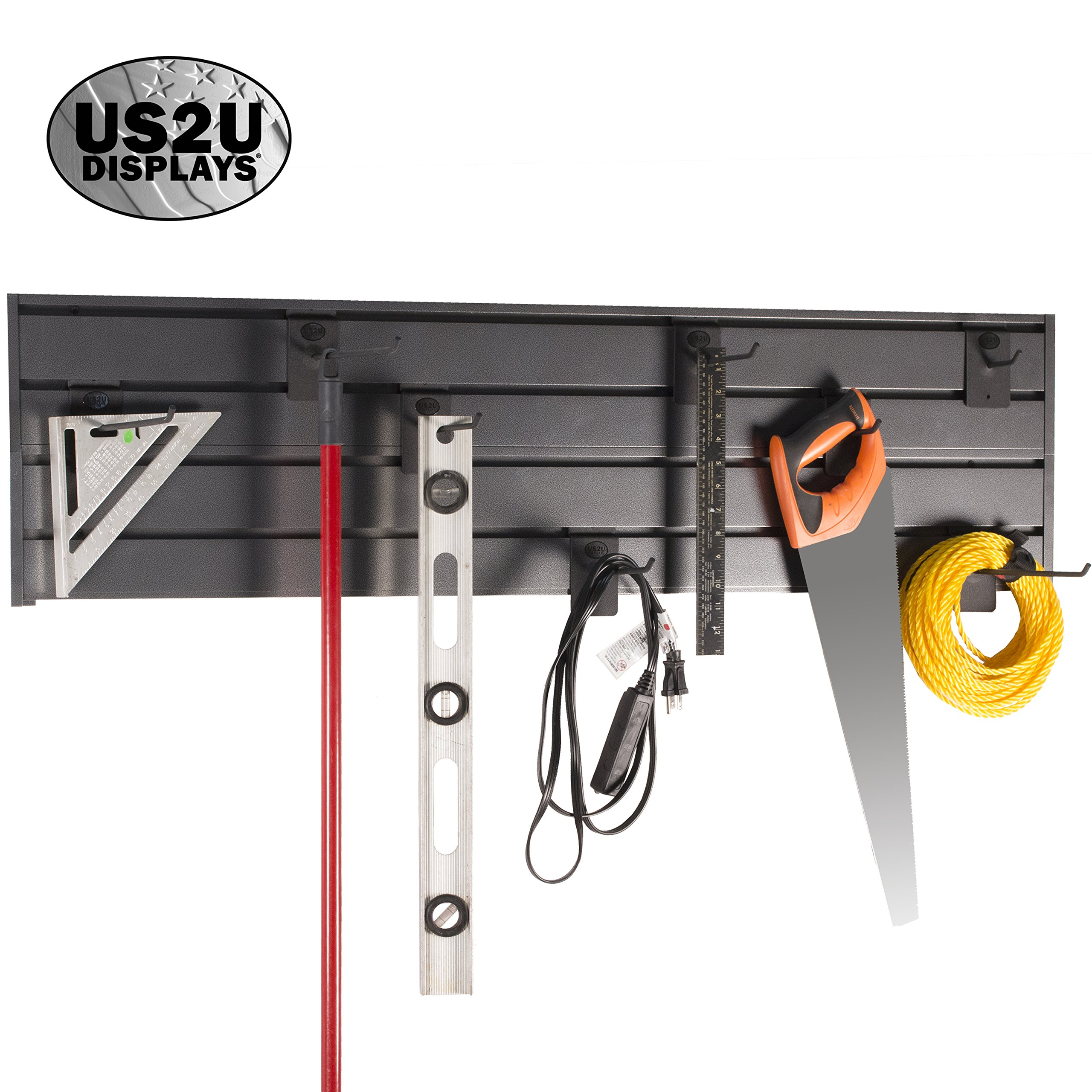 US2U Displays Garage Storage Slatwall System - 4x Slat Wall Tool Organizer 4' Extruded Aluminum Stackable Rails for Shelving, Hooks and Organization USSW2-S Silver