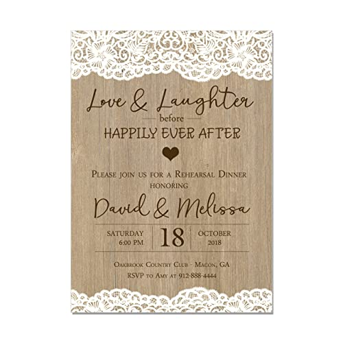 amazon com rustic wedding rehearsal dinner invitation lace and