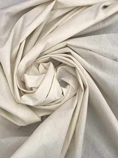 """Sold by the yard 60 /"""" Wide Muslin Fabric Natural Cotton"""