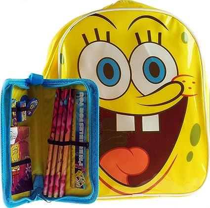 Bob Esponja Pantalones Cuadrados Infantil Mochila / Con relleno Estuche Conjunto Escolar: Amazon.es: Juguetes y juegos
