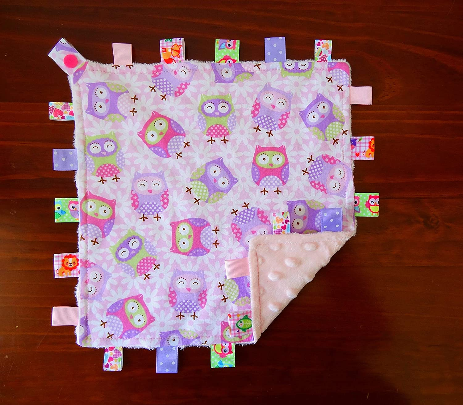 Taggie Taggy Tag Security Blanket Toy Comforter dummy clip holder Elephant Feathers Kimmidoll Minnie Mouse Owls Paw Patrol Sheep Unicorn