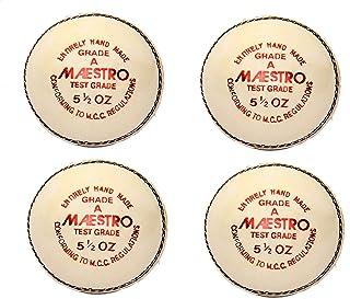 CW Lot de 4Maestro Blanc Practise, correspond à une qualité résistante à l'eau d'Alun en cuir tanné Balle de cricket Poids 156GM (5.1/2.) Cricket World