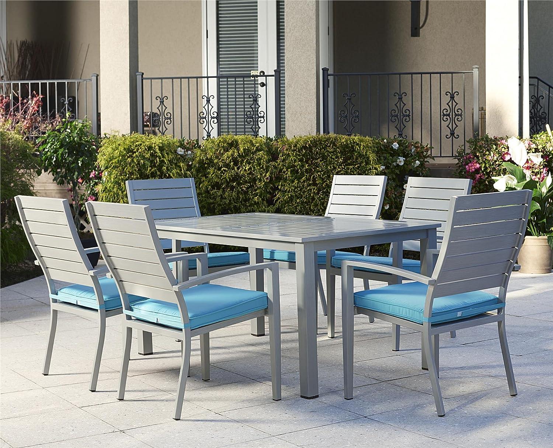 Amazon com cosco outdoor dining set 7 piece hand paint aluminum turquoise cushions garden outdoor