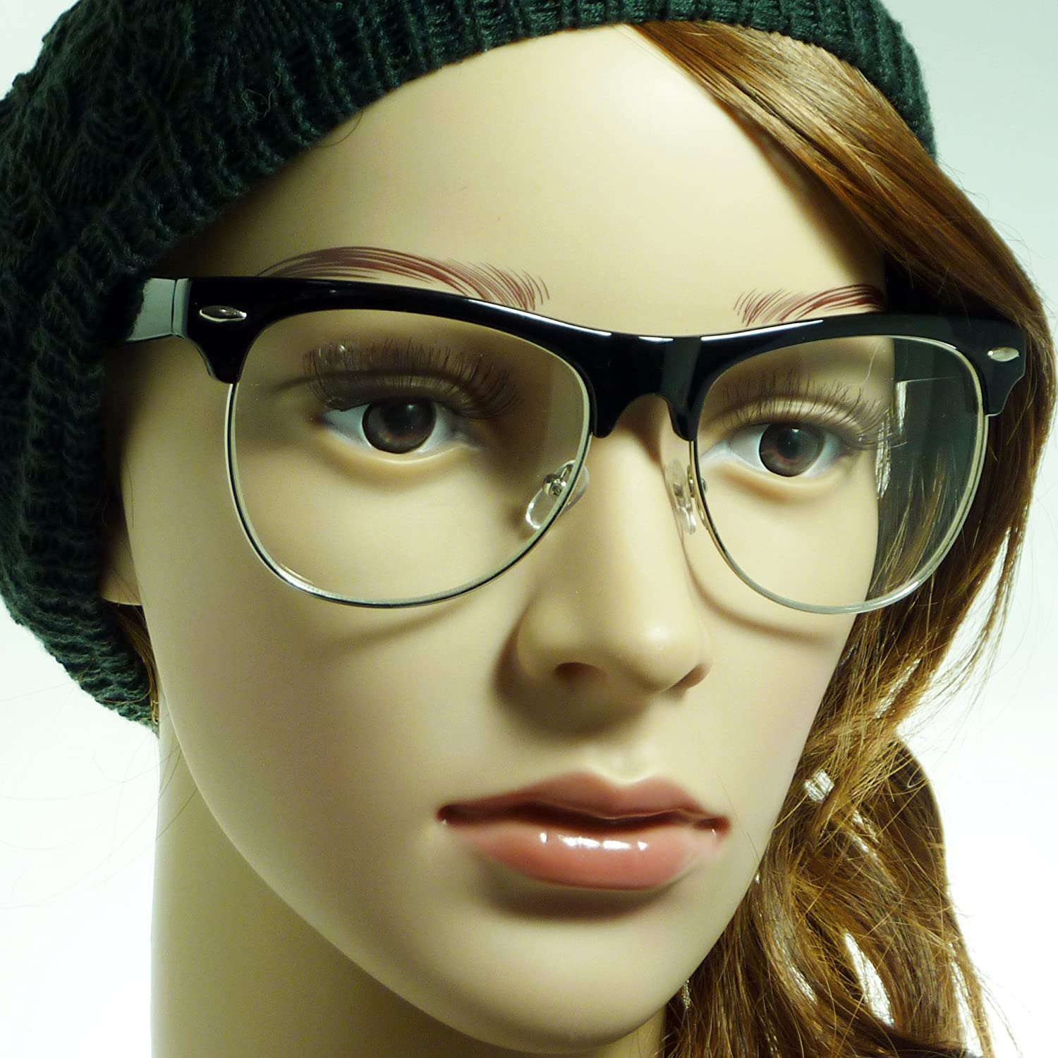 d4ad21f1f Amazon.com: VINTAGE Clubmaster Thick Half Rim Trendy Frame Clear Lens Eye  Glasses GOLD/BLACK: Clothing