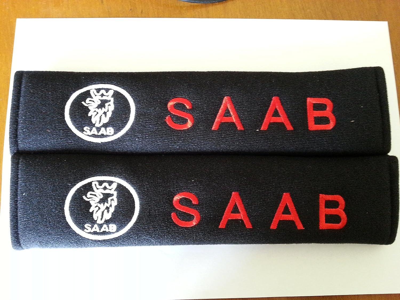 SAAB EMBROIDERED BADGE SEAT BELT PADS