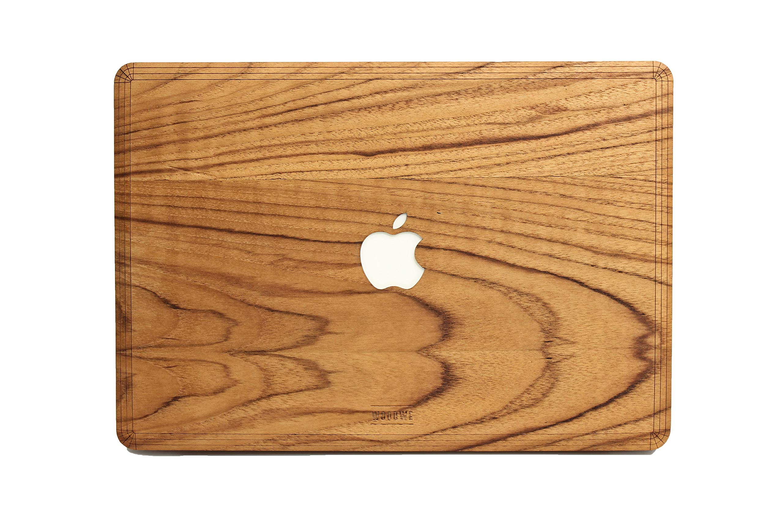 WOODWE Real Wood MacBook Skin Sticker Decal for Mac pro 15 inch Touch Bar Edition | Model: A1707/A1990; Late 2016 – Mid 2017 | Genuine & Natural Teak Wood | TOP&Bottom Cover