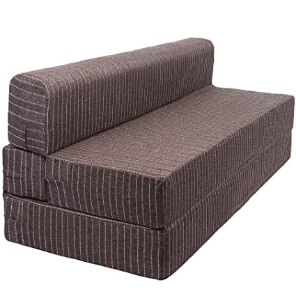timeless design 0ad42 3091f Uberlyfe Folding 3 Seater Sofa Cum Bed - Perfect for Guests - Jute Fabric  Washable Cover - Brown  5' X 6' Feet.(SOFA-001727-BR)