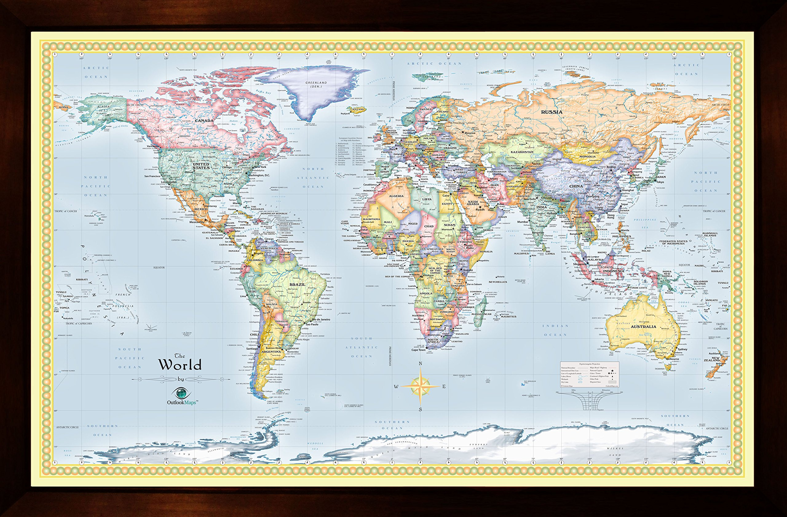 Homemagnetics 37 x 25 Blue World Magnetic Map
