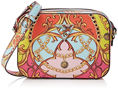 Guess Damen Kamryn Crossbody Top Zip Umhängetasche, Mehrfarbig (Coral Multi) 22x16x5.5 centimeters
