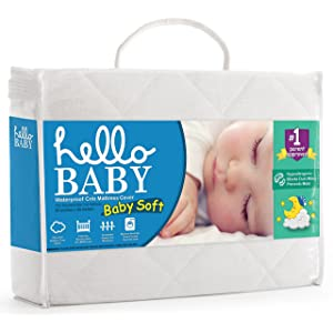 Hello Baby Waterproof Crib Mattress Cover- Quilted Ultra Soft White Bamboo Terry Fitted Sheet Style Blanket-like Pad- Top Infant Boy/Girl Bed Protector