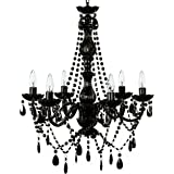 New jet black gothic crystal chandelier lighting h37 x w26 the original gypsy color 6 light large black chandelier h26 w22 black metal frame with aloadofball Gallery