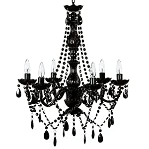 "The Original Gypsy Color 6 Light Large Black Chandelier H26"" W22"", Black Metal Frame with Black Acrylic Crystals"