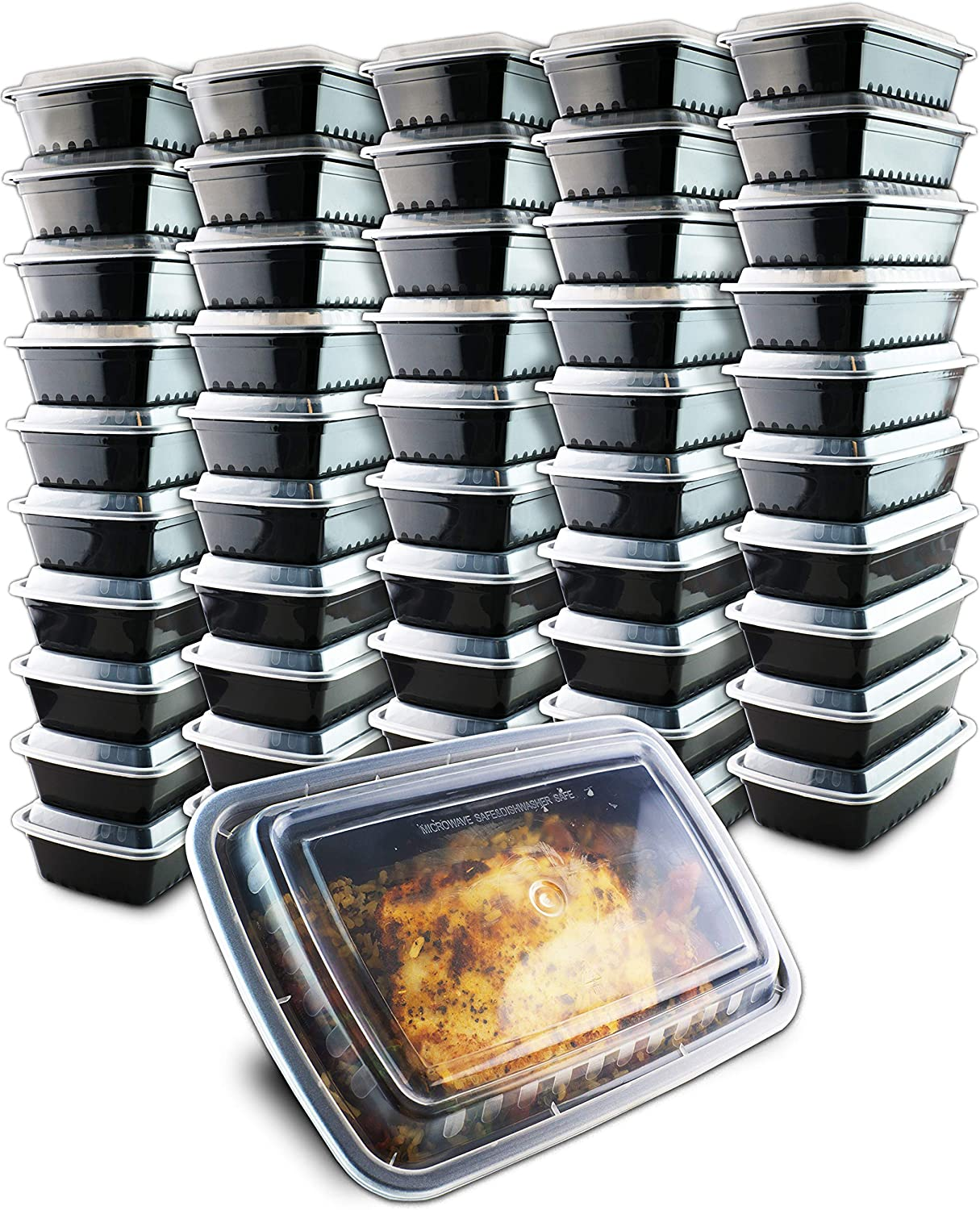 50 Pack- Chefible 38 oz Large Food Storage Container, Bento, Meal Prep, Durable, BPA-free, Reusable, Washable, Microwavable, Perfect for Portion Control!