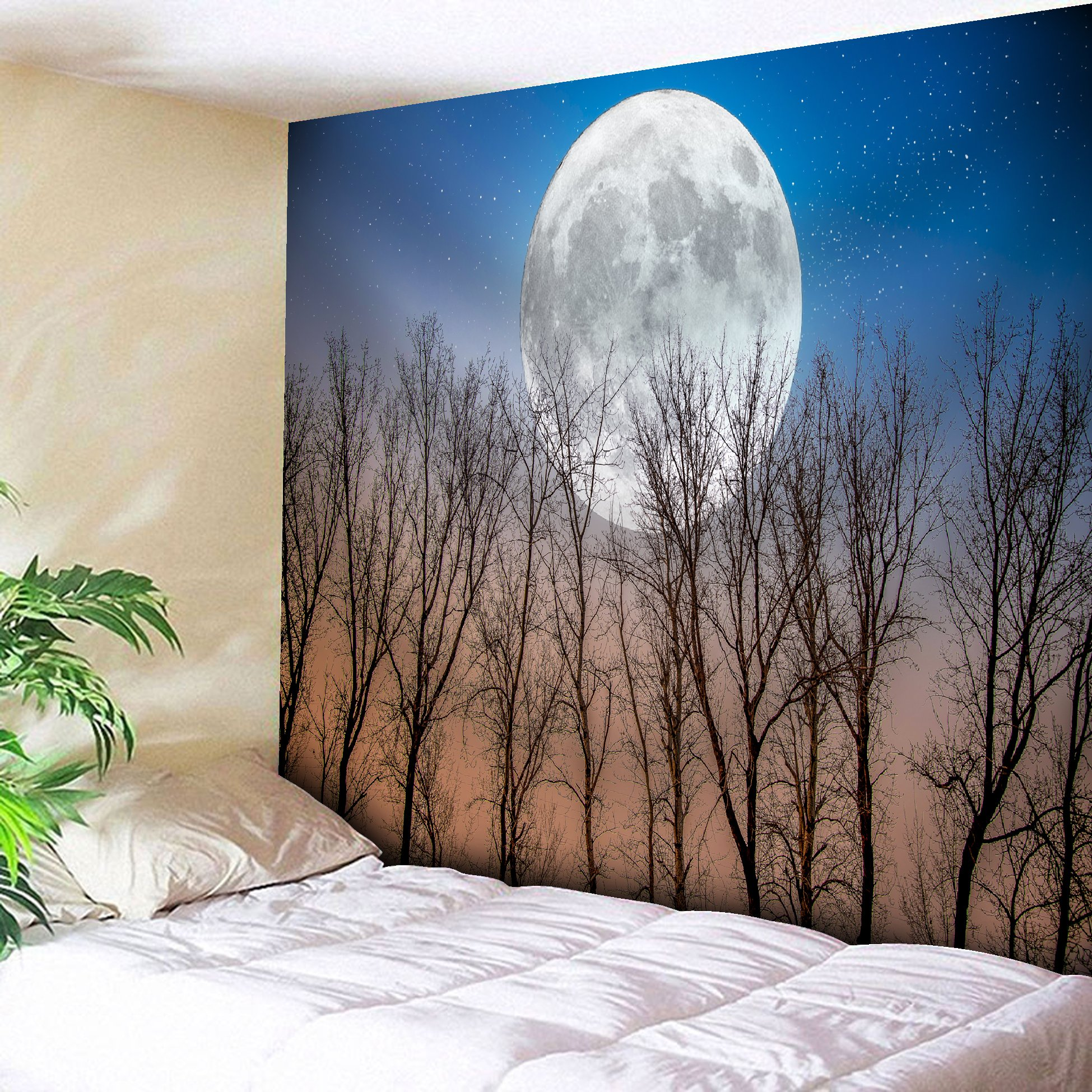 Get Orange Forest Full Moon Illumination in Woods Star Night Heavenly Lunar Treetops Up Space Art Fabric Artwork Party Art Wall Hanging for Bedroom Living Room Dorm Tapestry 80X60 Inch