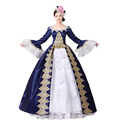 ec2e7894c5 Women Embroidery Lace Marie Antoinette Ball Gowns Civil War Southern Belle  Masquerade Dress Reenactment Clothing (