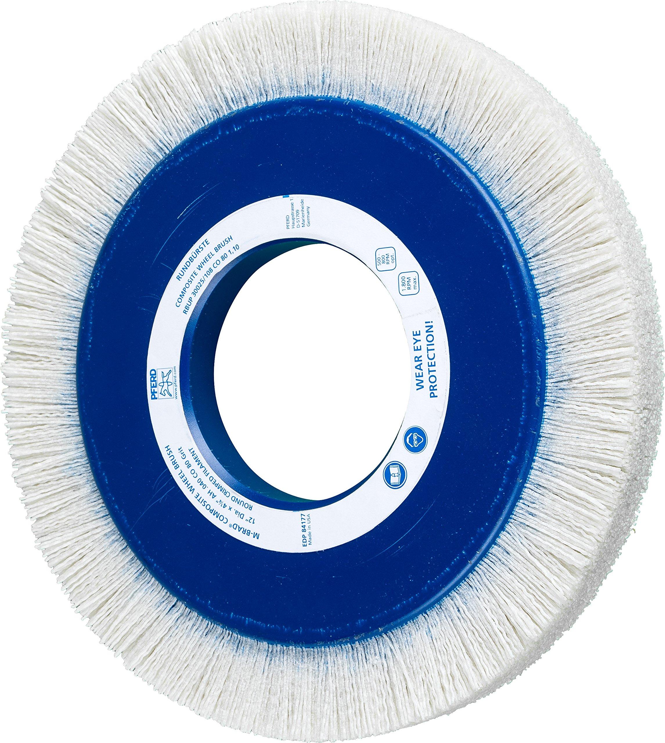 PFERD 84177 Composite Wheel Brush, Ceramic Oxide Grain, 12'' Diameter, 4-1/4'' Arbor Hole, 1-1/2'' Trim Length, 1800 rpm, 80 Grit
