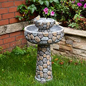 "Glitzhome 2-Tier Stone Like Patio Fountain Waterfall Outdoor Water Fountain with Bird Bath Decor Garden Waterfall Patio Water Fountain with Pump for Garden Yard Patio Deck Porch, 24.41""H"