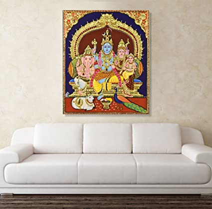 PRINTELLIGENT Canvas Painting   Shiva Family Tanjore Canvas Painting Wall  Painting For Living Room, Bedroom