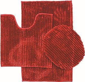 """BH Home & Linen 3 Piece Ultra Soft Butter Chenille Bath Mats Set Large Mat 19.5"""" x 31 Contour Mat 19.5"""" x 17.5 Lid 20"""" x 18 (Burgundy)"""