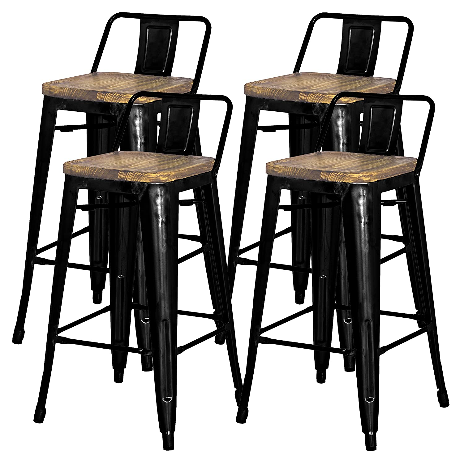 Swell New Pacific Direct Metropolis Metal Low Back Bar Stool 30 Wood Seat Indoor Outdoor Ready Black Set Of 4 Gmtry Best Dining Table And Chair Ideas Images Gmtryco
