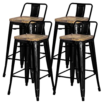 Fine New Pacific Direct Metropolis Metal Low Back Bar Stool 30 Wood Seat Indoor Outdoor Ready Black Set Of 4 Andrewgaddart Wooden Chair Designs For Living Room Andrewgaddartcom