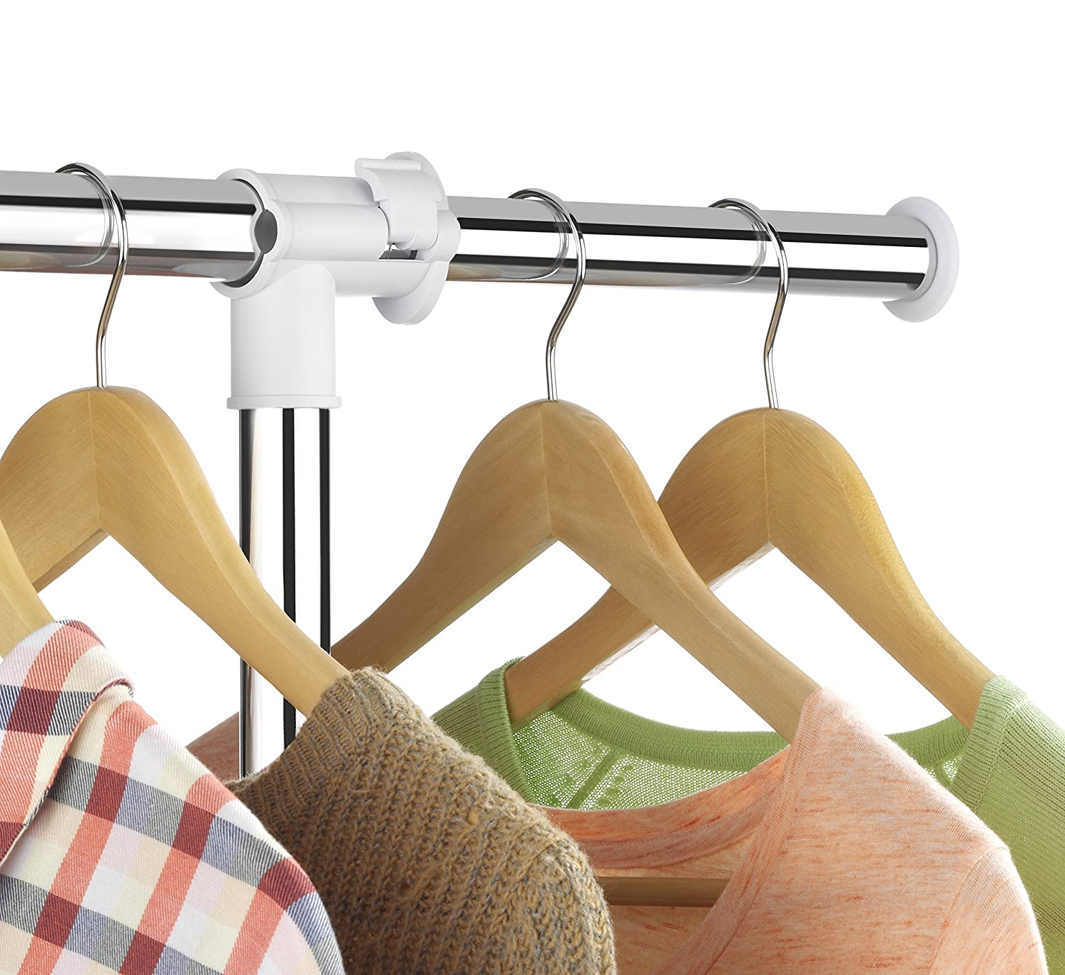 Whitmor Deluxe Adjustable Garment Rack   Rolling Clothes Organizer   White  And Chrome 6024 5908 BB
