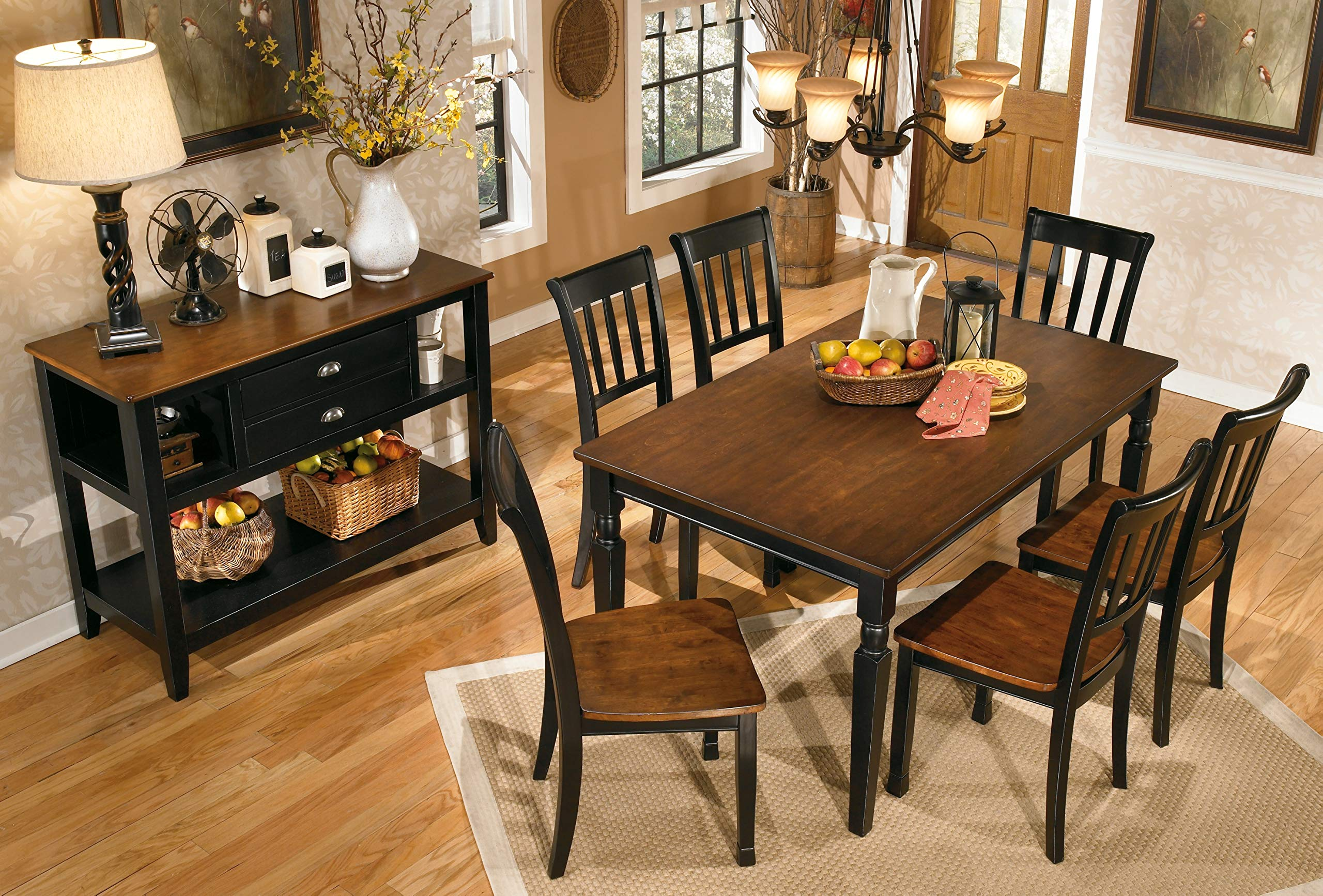 Ashley Furniture Signature Design - Owingsville Dining Room Side Chair - Latter Back - Set of 2 - Black-Brown by Signature Design by Ashley (Image #7)