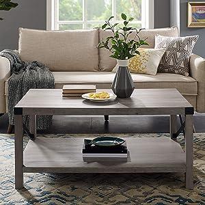 """WE Furniture AZF40MXCTGW Coffe Table, 40"""", Grey Wash"""